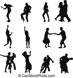 ダンス, セット, シルエット