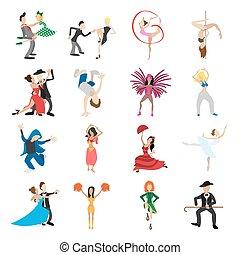 ダンス, セット, 漫画, アイコン