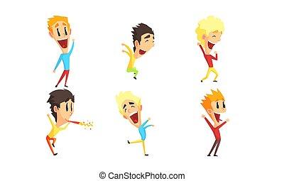 ダンス, セット, 男性, 祝う, 漫画, 跳躍, ベクトル, イラスト, 特徴, 楽しみ, 微笑, 人, 持つこと, 幸せ