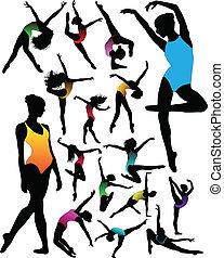 ダンス, バレエ, シルエット, セット, 女の子