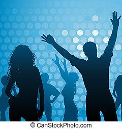 ダンス, パーティー, クラブ, -, 夜