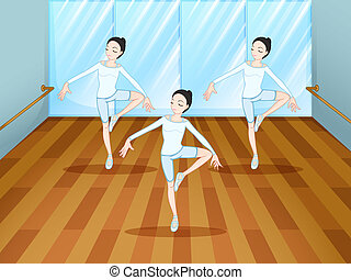 ダンス, リハーサル, 中, スタジオ