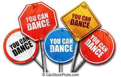 ダンス, レンダリング, 通り, 缶, サイン, あなた, 3d