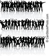 ダンス, 人々, -, コレクション, 大きい, シルエット