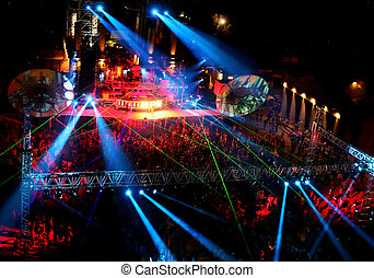 ダンス, 人々, 夜で, 屋外コンサート