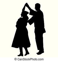 ダンス, 伝統的である, ダンサー, シルエット, ダンス
