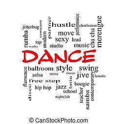 ダンス, 単語, 雲, 概念, 中に, 赤, 帽子