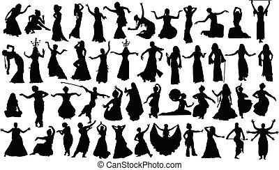 ダンス, 大きい, シルエット, セット, 東洋人