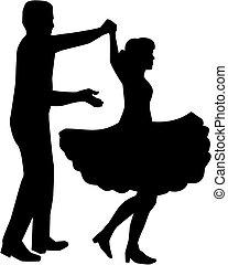ダンス, 広場, シルエット