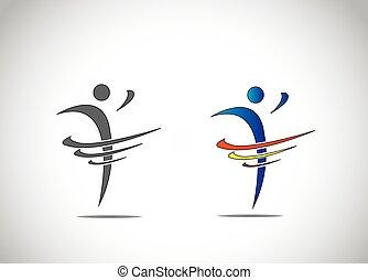 ダンス, 抽象的, 人, 喜び, フィットネス, シンボル, 幸福, アイコン
