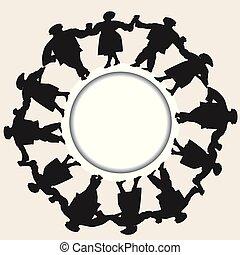 ダンス, 男性, の上, 一緒に, シルエット, 手, 置かれた, パフォーマンス, 把握, 女性