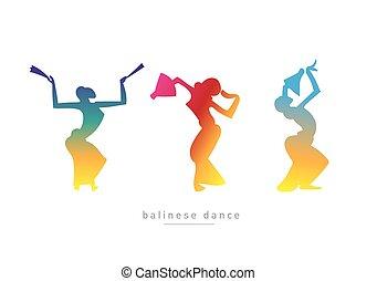 ダンス, balinese, girls., シルエット