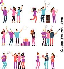 ダンス, birthday., 人々, 友人, 隔離された, 漫画, 男性, 祝う, ベクトル, 味方, 特徴, 楽しみ, パーティー。, 持つこと, 歌うこと, 女性