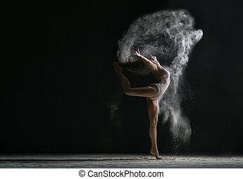 ダンス, concept., ほこり, 柔軟である, 女の子, 雲