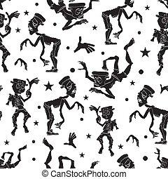 ダンス, zombie., pattern., seamless, 振ること, 黒, 衣装, zombies, frankenstein, 白