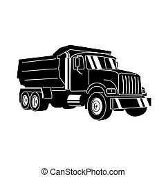 ダンプカー, ゴミ捨て場, ベクトル, 漫画, truck.