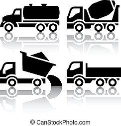 ダンプカー, セット, アイコン, -, ミキサー, コンクリート, トラック輸送