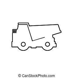 ダンプカー, icon., 交通機関, design., ベクトル, グラフィック