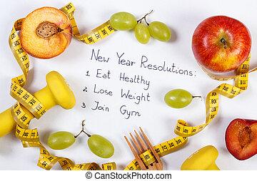 ダンベル, ライフスタイル, センチメートル, 健康に良い食物, resolutions, 年, 成果, 新しい