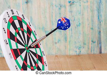 ダート盤, 旗, オーストラリア, さっと動く, 赤い矢印