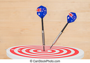 ダート盤, 旗, オーストラリア, さっと動く, 赤, 矢