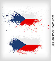 チェコ, グランジ, 旗, はね飛ばされる, インク