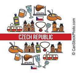 チェコ, ポスター, ランドマーク, 有名, ベクトル, 共和国