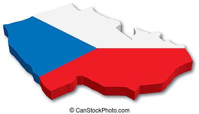 チェコ, 地図, 旗, 3d