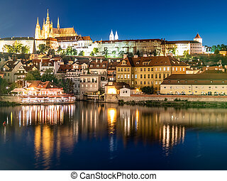 チェコ, 橋, hrad., czech:, 照らされた, 城, ランドマーク, vew, night., 共和国, プラハ, prazsky, praha, チャールズ