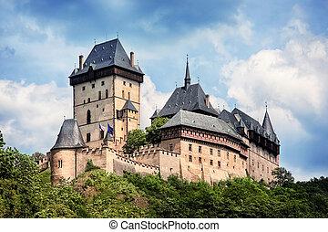 チェコ, karlstejn, パノラマである, 共和国, 城, 光景