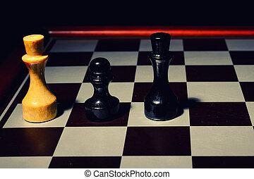 チェス盤, コース, 白, king., dark., こう着状態