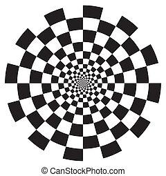 チェッカー盤, らせん降下意匠, パターン