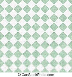 チェッカー, 生地, seamless, 対角線, 緑の背景, textured, 白, 繰り返し, 薄い