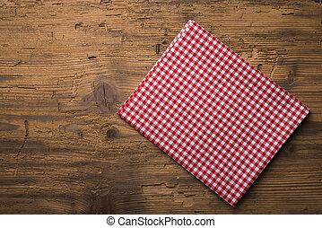 チェックされた, デッキ, 木製である, 上に, 壁紙, 赤い背景, テーブル, テーブルクロス, ミント, 空