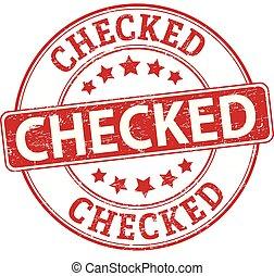 チェックされた, 切手, ゴム, textured, バッジ, ラウンド, 赤