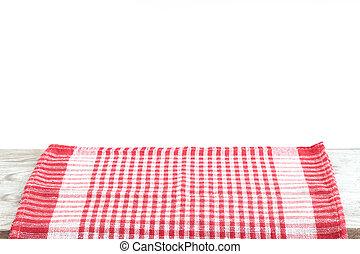 チェックされた, 木製である, 上に, 壁紙, 赤い背景, 机, テーブル, テーブルクロス, ミント, 空