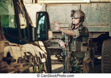 チェックポイント, 自動車, 停止される, 兵士