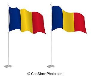 チェックポイント, flagpole, element., ベクトル, romania フラグ, 白, wind., ...