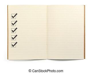 チェックリスト, ノート