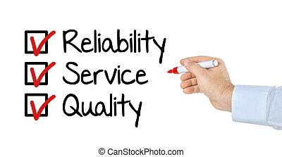 チェックリスト, 信頼性, -, 品質, サービス