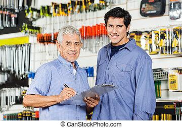 チェックリスト, 父, 息子, ハードウェア, 準備, 店