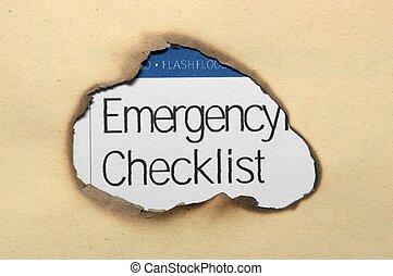 チェックリスト, 緊急事態