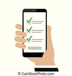 チェックリスト, smartphone, 手を持つ