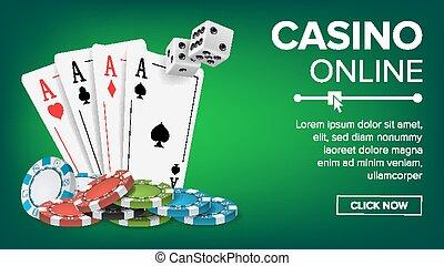 チップ, ポーカー, 幸運, vector., concept., カジノ, イラスト, カード, 現実的, 主題, デザイン, 背景, ギャンブル, 遊び, カード。