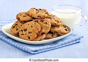 チップ, ミルク, クッキー, チョコレート