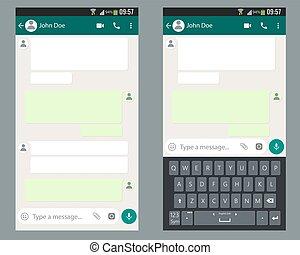 チャット, テンプレート, app, モビール, キット, screen., smartphone, キーボード, ui