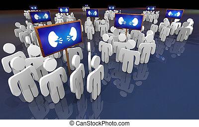 チャット, 人々, コミュニケーション, 議論, 顔, 2, イラスト, 話し, グループ, サイン, 3d
