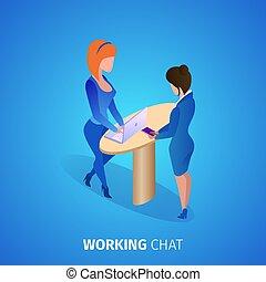 チャット, 女性実業家, 広場, 話し。, banner., 仕事