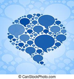 チャット, 泡, シンボル, 上に, 青い背景