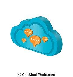 チャット, 計算, 3d, 泡, 雲, アイコン